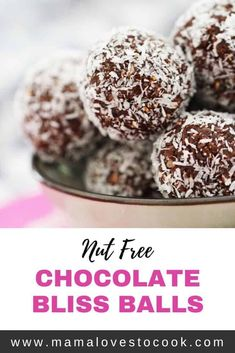 This nut free chocolate bliss balls recipe is so easy to make and is perfect for popping into kids lunchboxes as a healthy treat. Chocolate Protein Balls, Chocolate Treats, Healthy Chocolate, Vegetarian Chocolate, Easy Recipes For Beginners, Vegan Recipes Easy, Sweet Recipes, Nut Free Snacks, Lunch Box Recipes