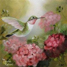 Art: Pink Reflections by Artist Paulie Rollins Hummingbird Pictures, Hummingbird Painting, Vintage Birds, Wildlife Art, Art Portfolio, Beautiful Birds, All Art, Creative Art, Watercolor Paintings
