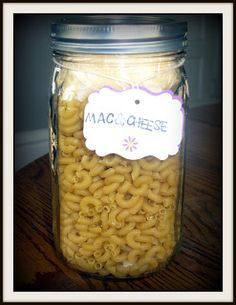 Mac and Cheese ||| 1/3 cup Basic Cream Sauce Mix; 1/2 cup cheese; 2 tbsp butter powder; 1/8 tsp pepper; 2-1/4 cup cooked macaroni; 1-1/4 cup water ... From http://rainydayfoodstorage.blogspot.com/p/meals-in-jar-recipes.html.