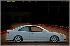 White Honda Civic coupe, ej8, NH-0, championship white