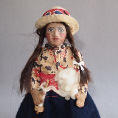 1930s Bolivian souvenir doll cloth and wood construction