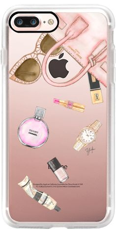 Casetify iPhone 7 Plus Classic Grip Case - WHATS IN YOUR PURSE? (TRANSPARENT / PINK) by Ylfa Grönvold Illustrations #Casetify