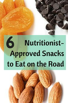 Healthy Travel trail mix: 2 handfuls each of dried apricots, unsalted almonds and dark chocolate chips. The crunchy treat won't spoil on long trips, and is packed with filling fiber and protein to keep cravings at bay.