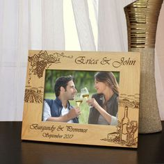 Designs 'French Pairing' Personalized Vacation Picture Frame with Font Selection (Select Size and Frame Orientation) by DesignstheLimit #TrendingEtsy