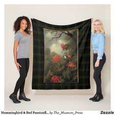 Shop Hummingbird & Red Passionflowers Painting Heade Fleece Blanket created by The_Museum_Press. Picnic In The Park, Passion Flower, Edge Stitch, Outdoor Events, Wedding Announcements, Van Gogh, Hummingbird, Delicate, Greeting Cards