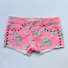 "Bright Pink Floral Cutoff Shorts Really fun bright pink cutoff shorts with white and teal floral print. Bronze studs along pockets and sides. Only worn once, perfect condition.   Size: 3, fits like 0-2 Measurements: 14.5"" waist laying flat, 6.5"" rise, 2"" inseam Condition: Like new  Trades  Please ask any questions prior to purchasing. All sales final. Mossimo Supply Co Shorts"