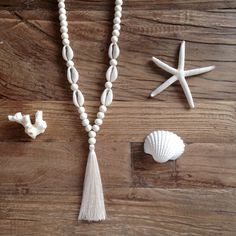 tassel necklace bohemian jewelry cowrie shell by beachcombershop