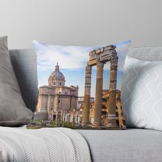 """""""Sunrise light with blue sky on Roman ancient architecture in Rome, Italy"""" Throw Pillow by PaoloModena 