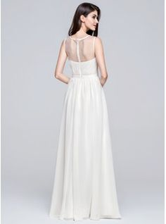 A-Line/Princess Scoop Neck Floor-Length Ruffle Beading Appliques Lace Sequins Zipper Up Regular Straps Sleeveless Beach General Plus No Spring Summer Ivory Chiffon Wedding Dress