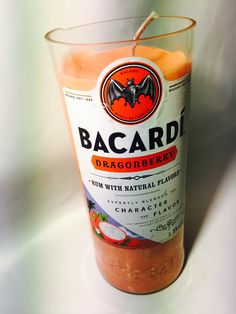 New to BrandYourCandle on Etsy: 100% Soy Wax candle made from up cycled Bacardi Dragonberry bottle in Berry Tangerine scent (27.00 USD)