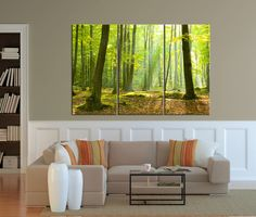 Large Canvas Art Print Morning in Forest, Forest Sunrise Large Wall Art Print, Extra Large 3 Panel Art Canvas Print, Ready to Hang, Streched