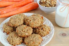 Carrot Oatmeal Cookies (used 1.5c wholegrain oat flour instead of all-purpose, swapped .25c white sugar for 1T honey, only used 2T finely chopped walnuts)