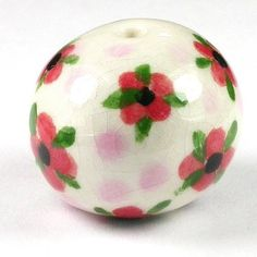 Blossoms of Joy Porcelain Bead by Natalie Pappas - https://www.facebook.com/groups/CeramicArtBeadMarket/