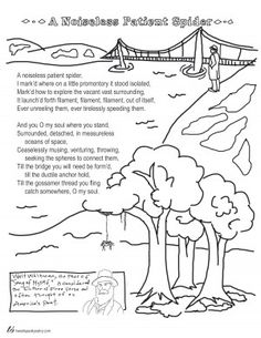 A Noiseless Patient Spider By Walt Whitman Coloring Page Poem Teachers Languagearts Education