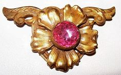 Victorian Brooch Pin Pink Rhinestone Gold by BrightgemsTreasures