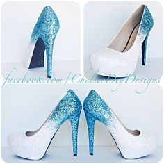 Glitter High Heels Blue and White Pumps -Aqua Turquoise Ombre Platform... ❤ liked on Polyvore featuring shoes, pumps, platform shoes, glitter shoes, glitter pumps, turquoise shoes and aqua shoes
