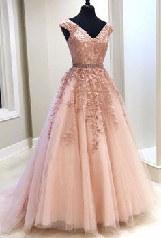 long prom dresses - Pink V Neck Tulle Lace Long Prom Dress, Pink Evening Dress Appliques Party Dress Chiffon Prom Dress Senior Prom Dresses, V Neck Prom Dresses, A Line Prom Dresses, Cheap Prom Dresses, Quinceanera Dresses, Dress Prom, Formal Dresses, Pagent Dresses, Peach Prom Dresses