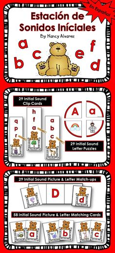 $3.25 This Spanish initial sound learning station comes with four different activities to give your students practice making initial sound to letter matches in Spanish. Includes:  Activity 1: Picture to Letter Matching  29 picture cards &  29 letter cards  Activity 2: Picture Upper and Lowercase Match-ups  29 letter to picture match-up mats  Activity 3: Initials Sound Clip Cards  29 initial sound picture clip cards  Activity 4: 29  Initial Sound Picture and Letter Puzzles