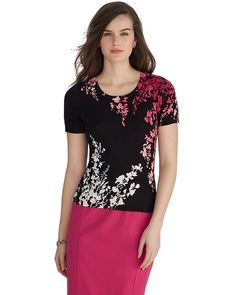 White House | Black Market Short Sleeve Flowers Printed Sweater #whbm  Very me with the colors.  But like the pattern and back on it the most.