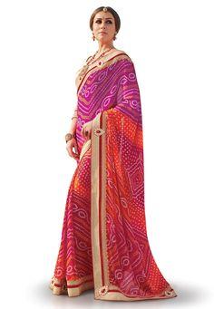 Buy Bandhej Printed Crepe Georgette Saree in Multicolor online, work: Printed, color: Multicolor, usage: Festival, category: Sarees, fabric: Georgette, price: $56.28, item code: SYC4718, gender: women, brand: Utsav