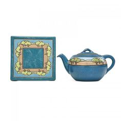 SARA GALNERUNIDENTIFIED ARTISTSATURDAY EVENING GIRLSRare teapot and trivet decorated in cuerda seca with trees, Boston, MA, 1919 Teapot signed S