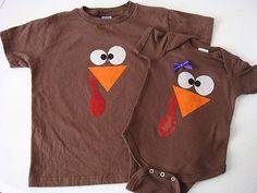 Little Turkey Thanksgiving Onesie or Shirt: DIY use felt to sew on turkey face