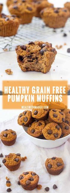 These healthy grain free pumpkin muffins are gluten free oil free low in carbohy. These healthy grain free pumpkin muffins are gluten free oil free low in carbohydrates high in fibe Mini Muffins, Quick Healthy Desserts, Banting Desserts, Healthy Pumpkin, Healthy Foods, Healthy Breakfast Muffins, Eat Breakfast, Free Breakfast, Strawberry Oatmeal Bars