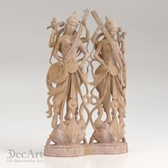 3d model of the goddess Saraswati for visualization and production on CNC machines & 3D printing.