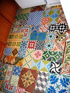 Inspiration: Patchwork Tiles...would be awesome for the bathroom :)