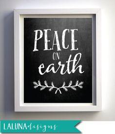 Printable Christmas Art, Peace On Earth, Christmas Decoration, Christmas Wall Art, Christmas Chalkboard Art