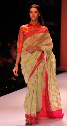 Totally digging this unusual colour combination by Rahul Mishra LFW 13 #saree #sari #blouse #indian #outfit  #shaadi #bridal #fashion #style #desi #designer #wedding #gorgeous #beautiful