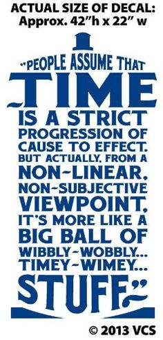 """Amazon.com - XTRA-LARGE - """"Time Is Wibbly Wobbly, Timey Wimey Stuff"""" Wall Décor Sticker Vinyl Decal - Doctor Who Quote - Tardis"""