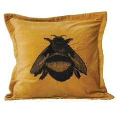 """20"""" Square Cotton Velvet Pillow w/ Bee Embroidery"""