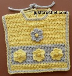 Free baby crochet pattern for motif bib, scroll down page for boys motif. http://www.justcrochet.com/motif-bib-usa.html #patternsforcrochet #freebabycrochetpatterns