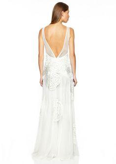 SUE WONG Chiffon V-Back Gown