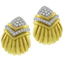 18k yellow & white gold diamond drop earrings 1