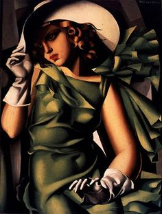 Jeune fille aux gants (Young Lady with Gloves), 1930, by Tamara de Lempicka (1898-1980); Oil on plywood; 61 x 46 cm (24 x 18 1/8 in)