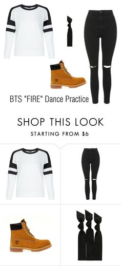 """BTS ""FIRE"" Dance Practice outfit"" by raylin-dream-girl on Polyvore featuring New Look, Topshop, Timberland and Emi-Jay"