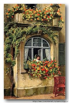 nasturtions in window box below girl looking out of window. LC: As with a lot of things I post in paintings a day, this is way over the top for a day. So shoot me. I might go at it with colored pencils and never ever let anyone see it! Decoupage, Cottage Art, Painted Cottage, Beautiful Paintings, Vintage Images, Oeuvre D'art, Painting Inspiration, Watercolor Paintings, Illustration Art