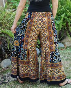 RESERVED for Jasmine Hippie Gypsy Pants  Blue Gold by 3mossflowers
