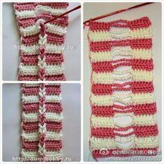 My mom used this technique over 40 years ago in an afghan she made. Crochet Doily Rug, Crochet Headband Pattern, Crochet Blanket Patterns, Crochet Scarves, Easy Crochet, Crochet Stitches, Free Crochet, Knitting Patterns, Knit Crochet