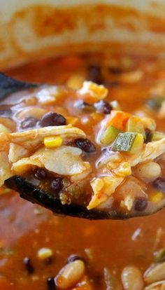 Easy Chicken Tortilla Soup is healthy, filling, and downright delicious! I could go back for a bowl or two... or three!