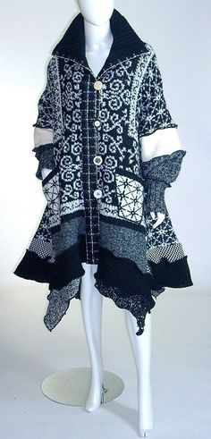 Plus Size Sweater Coat Black and White  Petunia by Brendaabdullah