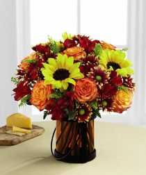 """""""Giving Thanks"""" - Exuding a superior warmth and sophistication, this gorgeous flower bouquet will be just the gift to send to become a part of your special recipient's fall celebrations!"""