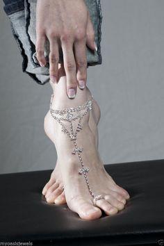 Love Slave Harems Barefoot Anklet Rhinestone Exotic Belly Dancer #Unbranded #HaremsAnklet
