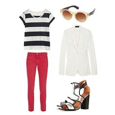 I have red/orange H&M jeggings, striped top & black blazer since I don't have white or just a white cardigan. black booties.