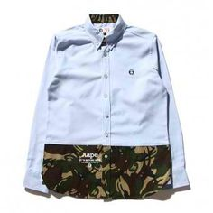 AAPE New Camo Stitching Long Sleeve Button Up Shirt (Light/Blue) #aape #streetwear #streetfashion #fashion #urbanwear #longsleeves #buttonupshirt