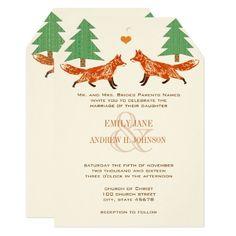 Vintage Foxes Wedding Invitation