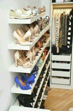 IKEA Lack shelf is a cool basic shelf, and you can use it wherever and however you want. IKEA Lack shelves can become nice corner shelves, floating . Master Closet, Closet Bedroom, Closet Space, Walk In Closet, Ikea Closet, Budget Bedroom, Bedroom Ideas, Master Bedroom, Closet Wall