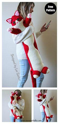 Crochet Pattern Free, Crochet Animal Patterns, Crochet Patterns Amigurumi, Crochet Dolls, Knitting Patterns, Crochet Cat Toys, Cat Amigurumi, Knitted Cat, Knitted Dolls